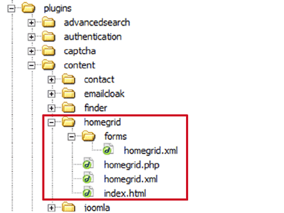 Screenshot of file structure
