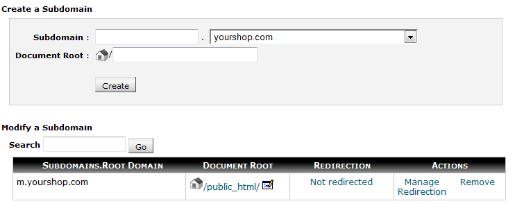 Screenshot of additional domain in cPanel