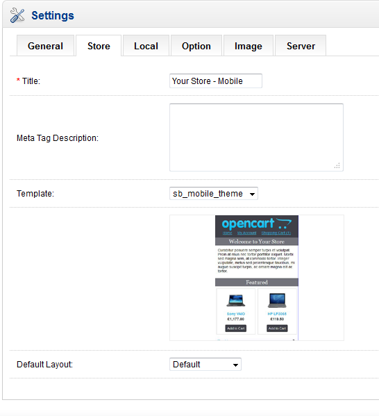 Screenshot of Opencart store configuration screen