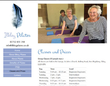 Ilkley Pilates website