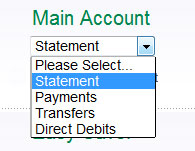 Online banking screenshot showing pull down menu, Statement option highlighted