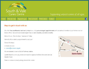 South & Vale Carers website