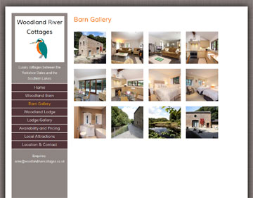 Woodland River Cottages website