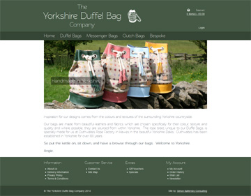 Yorkshire Duffel Bag Company website